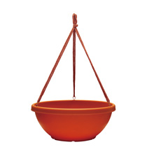 14 inch Terra Cotta Rolled Rim Hanging Bowl With Macramƒ Hanger