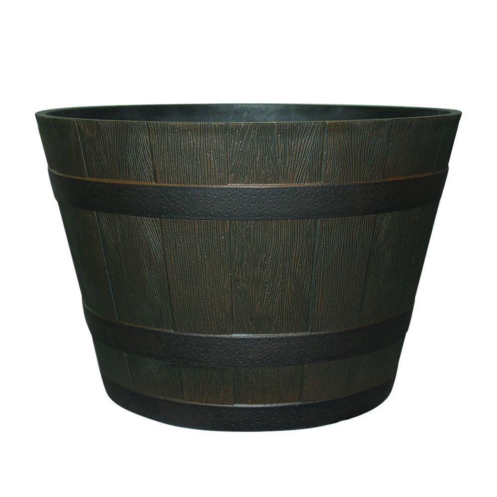 Hdr 22 5 Quot Whiskey Barrel Planter With Iron Band Rustic