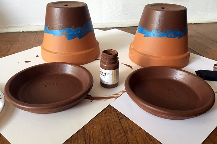 place artist tape and paint brown