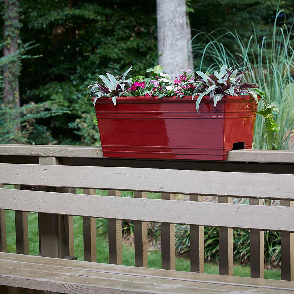 """24"""" x 10.5"""" Sycamore Deck Rail Planter, Reactive Red ..."""