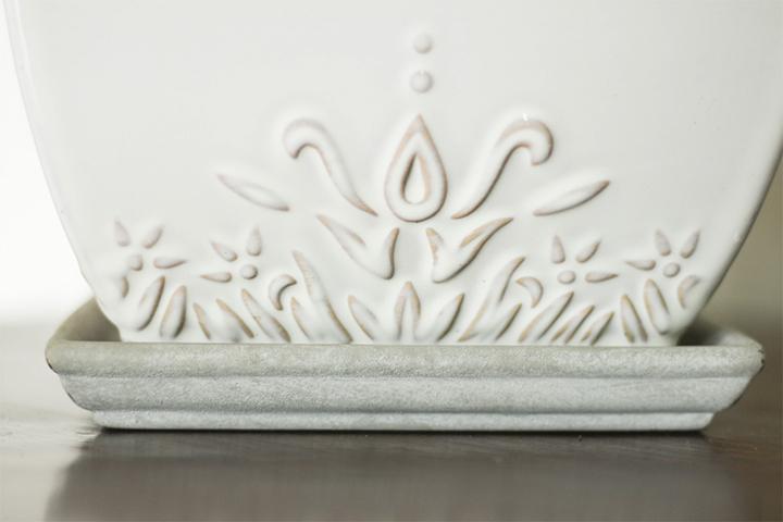 Attached saucer white ceramic planter