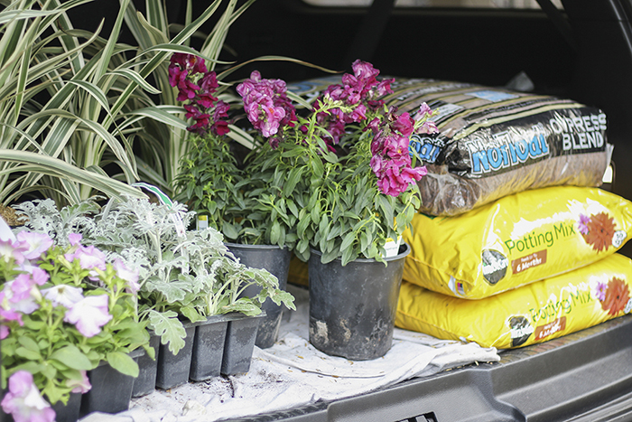 Shopping for mulch, potting soil, or planters