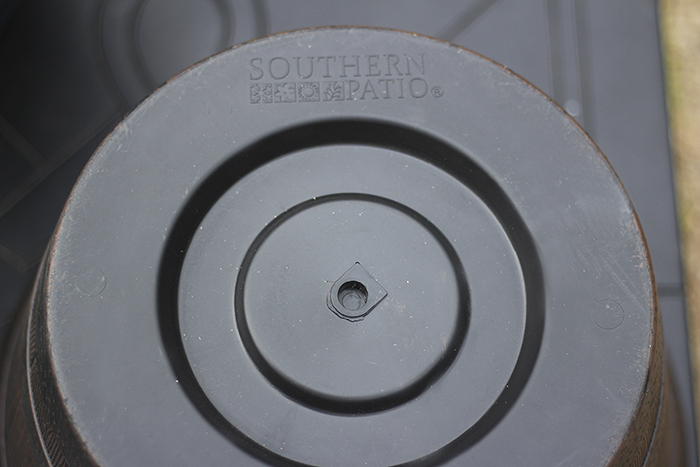 Bottom of Resin Barrel Planter