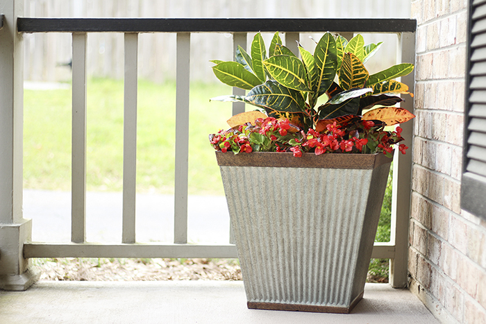 Southern Patio's Westlake planters look like galvanized metal, but they're actually made of durable High-Density Resin (HDR)