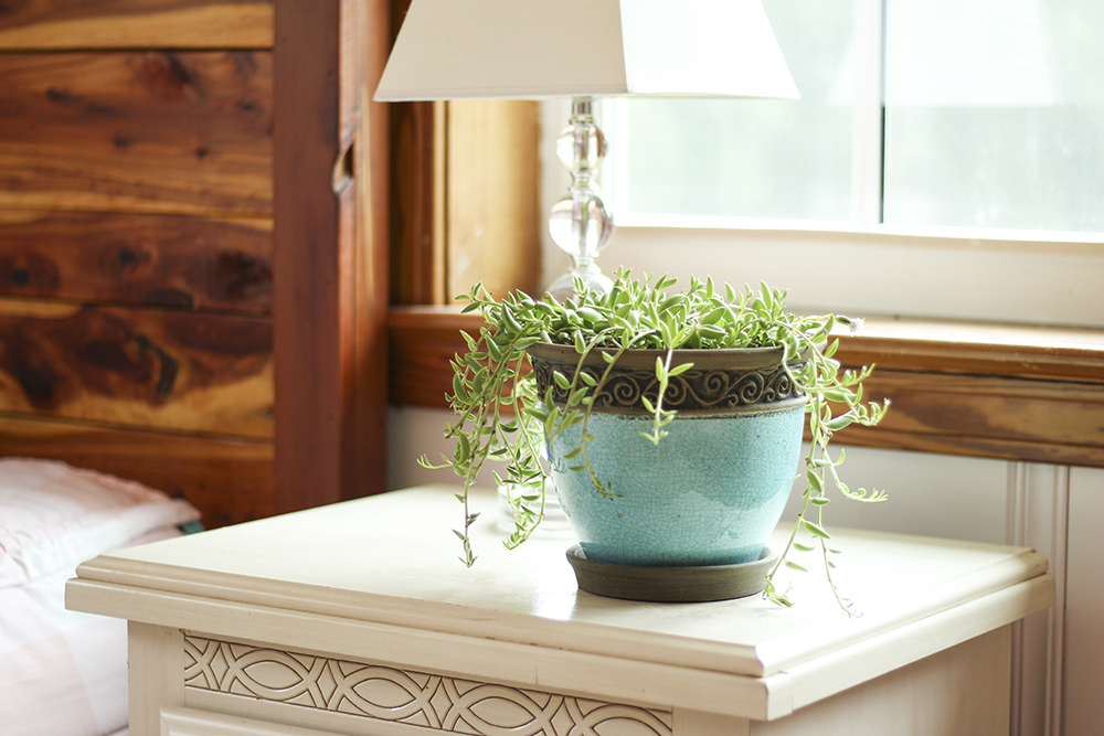 small teal ceramic pot on night stand
